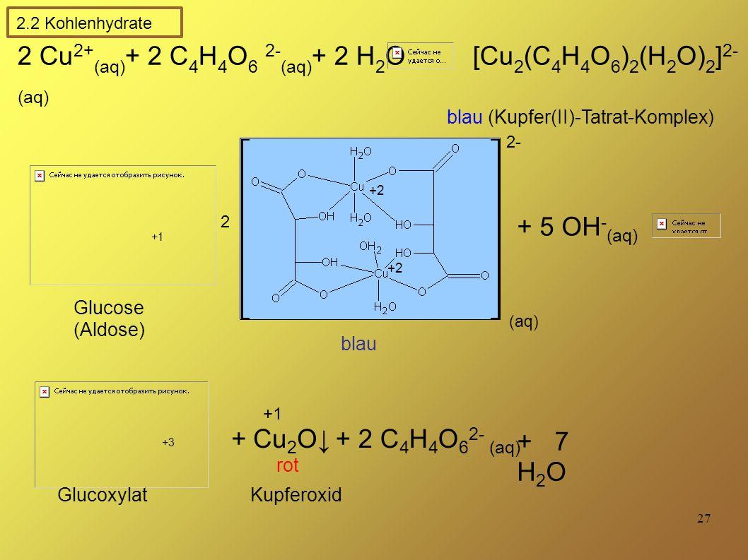 2 Cu2+(aq)+ 2 C4H4O6 2-(aq)+ 2 H2O [Cu2(C4H4O6)2(H2O)2]2-(aq)